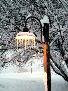 icicles on the walkway lamp