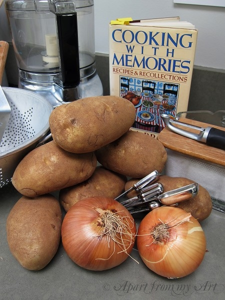 Ingredients gathered for potato latkes