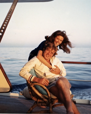 Albert Finney and Sandra Sallin at sea on the French Riviera