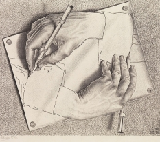 A hand drawing a hand by M. C. Escher