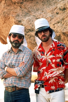 Steven Spielberg and George Lucas On location shooting the movie Indiana Jones